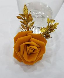 Blingozz Handicrafts Velvet Rose With Golden Leaves Clip - Yellow