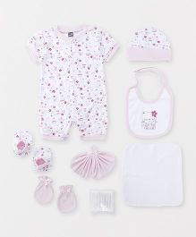 Mee Mee Clothing Gift Set Floral Print Pack of 8 - Pink & White