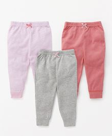 Luvable Friends Set Of 3 Leggings - Pink Coral Grey