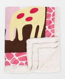 Luvable Friends Bear Print Fleece Blanket - Pink