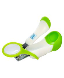 Mee Mee Gentle Nail Clipper With Magnifier - White & Green