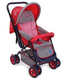 Mee Mee Baby Pram Cum Stroller With Reversible Handle Printed - Red