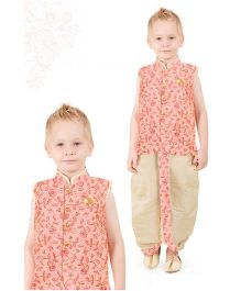 Ethnik's Neu Ron Sleeveless Kurta And Dhoti - Peach