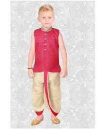 Ethnik's Neu Ron Sleeveless Kurta And Dhoti - Pink