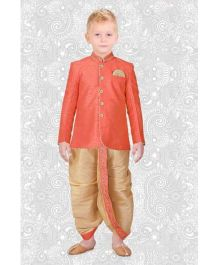 Ethnik's Neu Ron Full Sleeves Kurta And Dhoti Set - Orange Beige