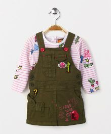 Little Kangaroos Dungaree With Striped Top - Olive Green