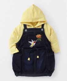 Little Kangaroos Dungaree Style Frock With Hooded Top Bird Patch - Dark Blue Yellow