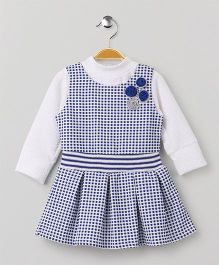 Little Kangaroos Checks Frock With Inner Top Floral Motif - Navy & White