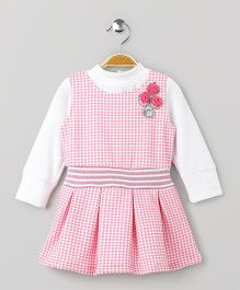 Little Kangaroos Checks Frock With Inner Top Floral Motif - Pink & White