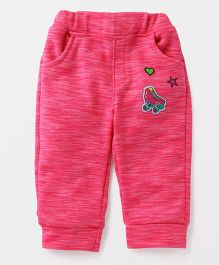 Little Kangaroos Full Length Lounge Pants Skates Patch - Pink