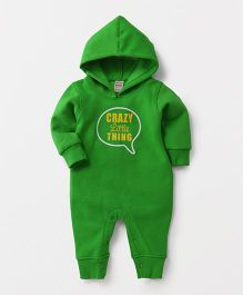 Little Kangaroos Hooded Romper Crazy Little Thing Print - Green