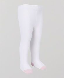 Mustang Footed Stocking Tights - Off White & Light Pink