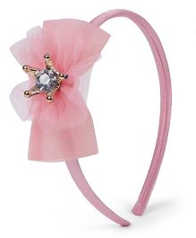 Stol'n Hair Band With Crown Studded Bow Applique - Light Pink
