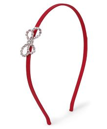 Stol'n Hair Band Rhinestone Bow Applique  - Red