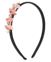 Stol'n Rosette Bow With Studded Diamond Hair Band - Pink