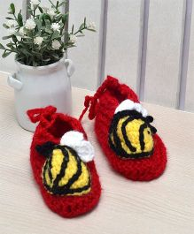 Beebop Crochet Socks Shoes  Bee Applique - Red