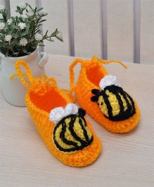 Beebop Crochet Socks Shoes Bee Applique - Orange