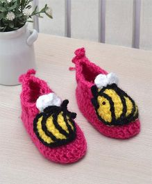 Beebop Crochet Socks Shoes Bee Applique - Pink