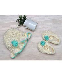 Beebop Crochet Cap and Booties Set Floral Applique - Off White Sea Green
