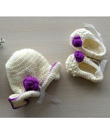 Beebop Crochet Cap and Booties Set Floral Applique - Off White Purple