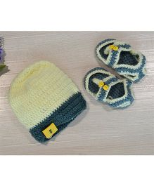 Beebop Crochet Cap And Flip Flop Style Booties Set Floral Applique - Yellow Green