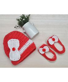 Beebop Crochet Cap And Booties Set Bow Applique - Red White