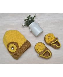 Beebop Crochet Cap and Booties Set Floral Applique - Yellow