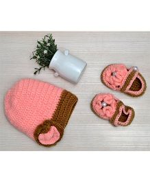 Beebop Crochet Cap and Booties Set Floral Applique - Pink