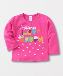 Pink Rabbit Full Sleeves T-Shirt Text & Heart Print - Pink