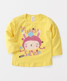 Pink Rabbit Full Sleeves T-Shirt Text Print - Yellow