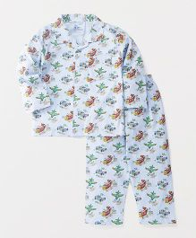 Pink Rabbit Full Sleeves Night Suit Set Transport Print - Sky Blue