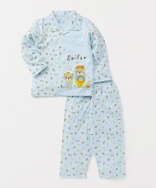 Pink Rabbit Full Sleeves Night Suit Set Sailor Print - Light Blue