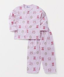 Pink Rabbit Full Sleeves Night Suit Set Allover Owl & Bunny Print - Light Pink
