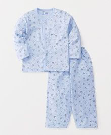Pink Rabbit Full Sleeves Night Suit Set Allover Penguin Print - Light Blue