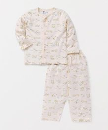 Pink Rabbit Full Sleeves Night Suit Set Allover Print - Light Peach