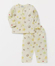 Pink Rabbit Full Sleeves Night Suit Set Allover Print - Light Yellow