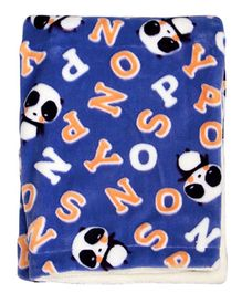 Mee Mee Flannel Fabric Blanket Alphabet Print - Dark Blue