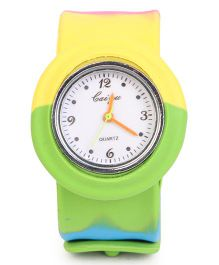 Analog Wrist Watch Round Dial - Green Yellow