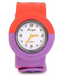 Analog Wrist Watch Round Dial - Red Purple