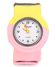 Analog Wrist Watch Round Dial - Pink Yellow