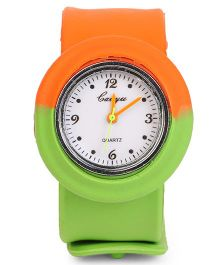 Dual Color Analog Wrist Watch - Orange Green