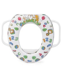 Babyhug Cushioned Potty Seat With Handle Alphabet Print - White