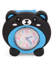 Analog Wrist Watch Bear Face Dial - Black & Blue