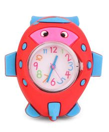 Analog Wrist Watch Fish Shape Dial - Red & Blue