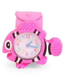 Analog Wrist Watch Fish Shape Dial - Light Pink