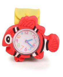 Analog Wrist Watch Fish Shape Dial - Yellow Red