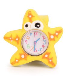 Analog Wrist Watch Star Fish Shape Dial - Yellow