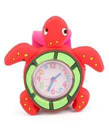 Analog Wrist Watch Tortoise Shape Dial - Red Pink