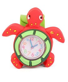 Analog Wrist Watch Tortoise Shape Dial - Red Green
