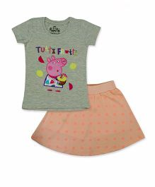 Peppa Pig Top And Skirt Set Tutti Frutti Print - Green Light Orange